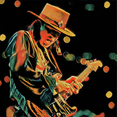 Painting - Stevie Playing Guitar by Dan Sproul
