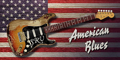 Digital Art - Stevie Ray American Blues by WB Johnston