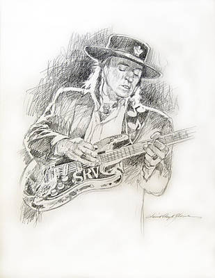 Stratocaster Drawing - Stevie Ray Vaughan - Texas Twister by David Lloyd Glover