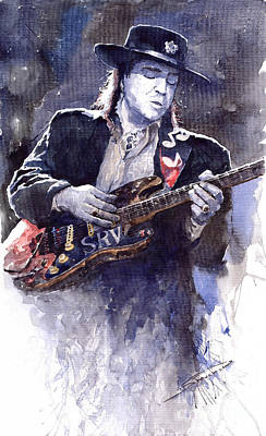 Guitarist Painting - Stevie Ray Vaughan 1 by Yuriy  Shevchuk