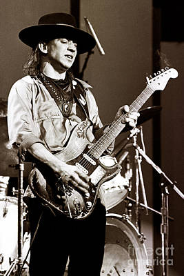 Perform Photograph - Stevie Ray Vaughan 1984 Sepia Sepia by Chris Walter