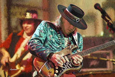 Stratocaster Mixed Media - Stevie Ray Vaughan 1986 by Garland Johnson