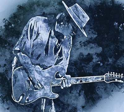 Music Paintings - Stevie Ray Vaughan - 20 by AM FineArtPrints