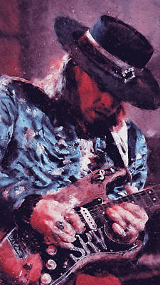 Painting - Stevie Ray Vaughan - 25 by Andrea Mazzocchetti
