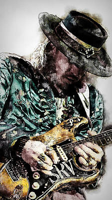 Painting - Stevie Ray Vaughan - 27 by Andrea Mazzocchetti