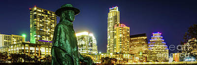 Austin Skyline Photograph - Stevie Ray Vaughan Austin Tx Panorama by Paul Velgos