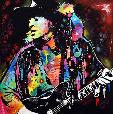 Street Painting - Stevie Ray Vaughan by Dean Russo