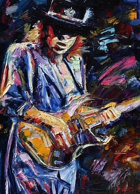 Blues Guitar Painting - Stevie Ray Vaughan by Debra Hurd