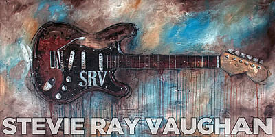 Music Paintings - Stevie Ray Vaughan Double Trouble by Sean Parnell