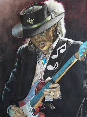 Music Legends Painting - Stevie Ray Vaughan  by Lance Gebhardt