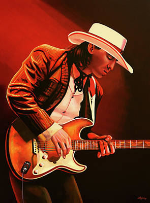Blues Musician Painting - Stevie Ray Vaughan Painting by Paul Meijering