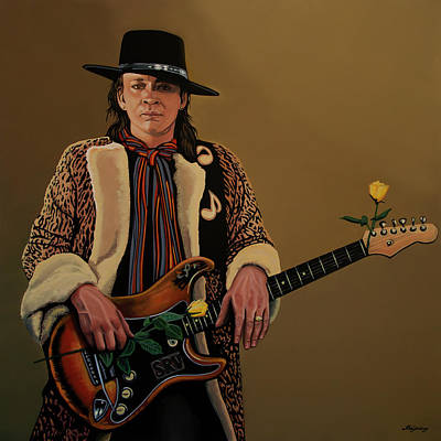 Singer Songwriter Painting - Stevie Ray Vaughan 2 by Paul Meijering