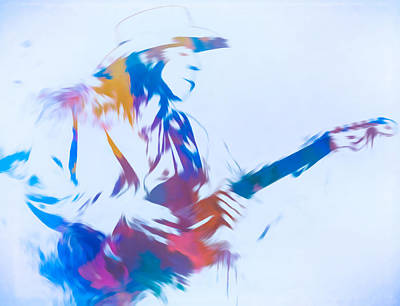 Music Paintings - Stevie Ray Vaughan Playing Guitar by Dan Sproul