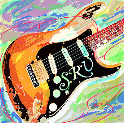 Rays Painting - Stevie Ray Vaughan Stratocaster by David Lloyd Glover