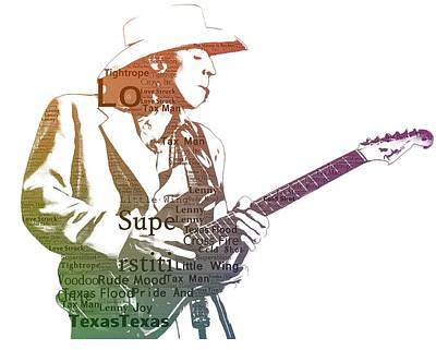 Music Digital Art - Stevie Ray Vaughan Typography by Dan Sproul