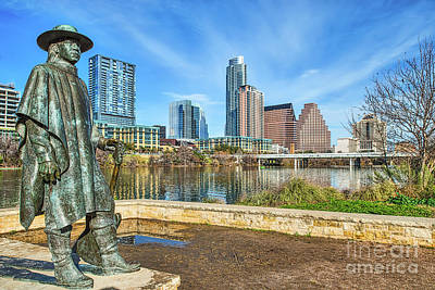 Austin Skyline Photograph - Stevie Ray Vaughn Statue by Tod and Cynthia Grubbs