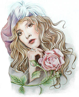 Stevie Nicks Drawing - Stevie With Rose by Johanna Pieterman