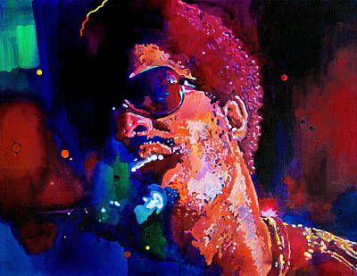Celebrity Portraits Painting - Stevie Wonder by David Lloyd Glover