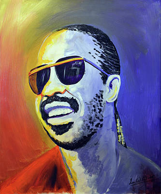 Michigan Wall Art - Painting - Stevie Wonder by Lee Wolf Winter
