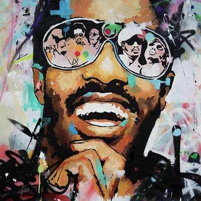 Stevie Wonder Portrait Art Print by Richard Day