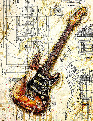 Stevie's Guitar Art Print by Gary Bodnar