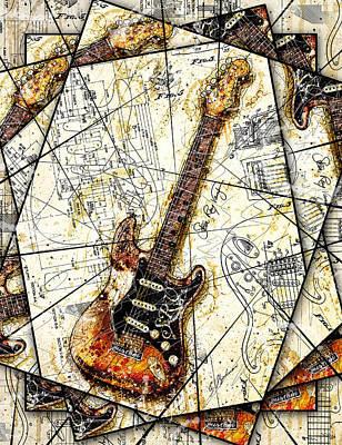 Stevie's Guitar V2 Art Print by Gary Bodnar