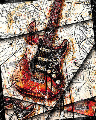 Abstract Music Digital Art - Stevie's Guitar V4 by Gary Bodnar