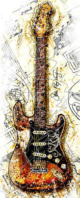 Stevie's Guitar Vert 1a Art Print by Gary Bodnar