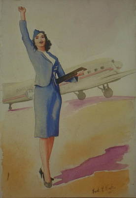 Dc-3 Painting - Stewardess And Dc3 by Frank Hunter