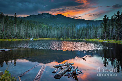 Reflective Photograph - Stewart Lake Dusk by Inge Johnsson