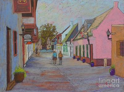 Pastel - St.george St.,st. Augustine ,fla. by Rae  Smith