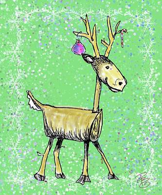 Digital Art - Stick Deer by Debra Baldwin