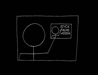 Polaroid Camera - Stick Figure Wisdom Logo - White by George Hobbs