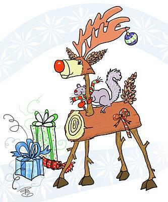 Digital Art - Stick Holiday Reindeer by Debra Baldwin