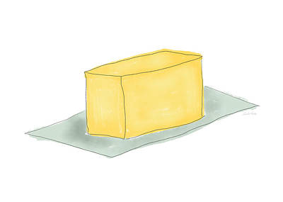 Yellow Mixed Media - Stick Of Butter- Art By Linda Woods by Linda Woods