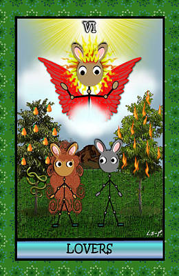 Digital Art - Stickee Critters - Lovers by Iowan Stone-Flowers