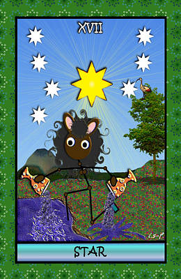 Digital Art - Stickee Critters - Star by Iowan Stone-Flowers