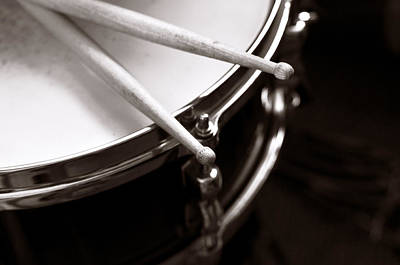 Drumstick Photograph - Sticks On Snare Drum by Rebecca Brittain