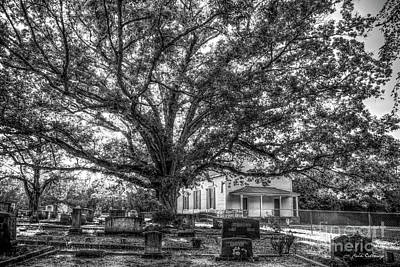Photograph - Still Faithful B W God Bethany Presbyterian Church The Old Oak Tree Greene County Georgia Art by Reid Callaway