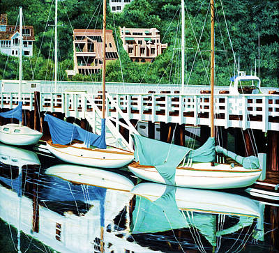 Horizontal Painting - Still, In Sausalito by Mary Grden's Baywood Gallery