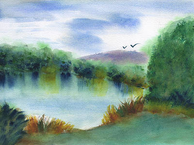 Painting - Still Lake by Frank Bright