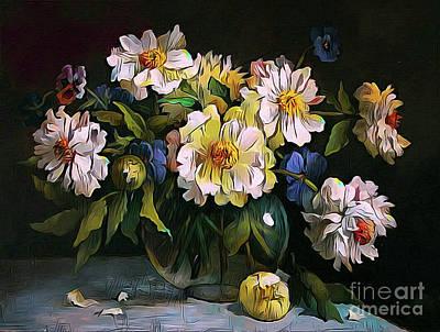 Still Life 04 ...23.13 Bouquet Of White Peonies Art Print