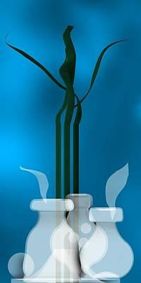 Harmony Digital Art - Still Life 1 In Blue by Alberto RuiZ