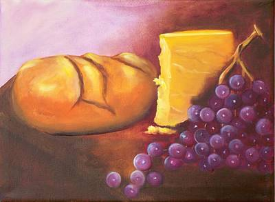 Bread And Cheese Painting - Still Life 1 by Joni McPherson