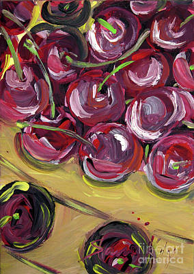 Painting - Cherries. Original Painting  by Oksana Semenchenko