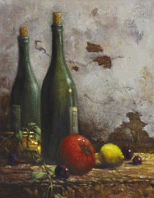 Wine Bottle Painting - Still Life 3 by Harvie Brown