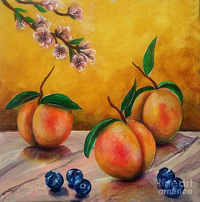 Painting - Still Life #5 Peaches And Blueberries by Thomas Lupari