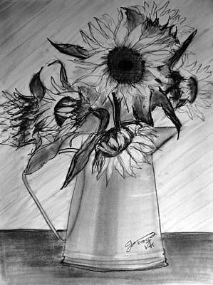 Still Life Drawings - Still Life - 6 Sunflowers in a Jug by Jose A Gonzalez Jr