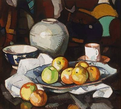 Life Painting - Still Life - Apples And Jar By Samuel Peploe, 1912-1916 by Celestial Images