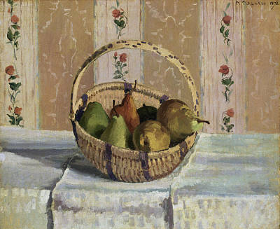 Fruit Painting - Still Life, Apples And Pears In A Round Basket by Camille Pissarro
